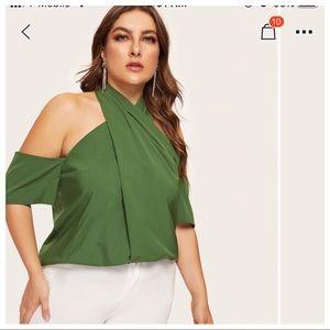 Plus open shoulder cross halter top